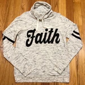 "Cowl Neck Screen-print ""Faith"" Sweatshirt"